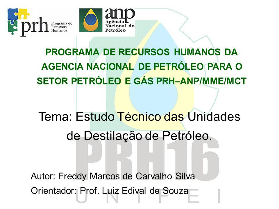 PROGRAMA DE RECURSOS HUMANOS DA AGENCIA NACIONAL DE PETRÓLEO PARA O SETOR PETRÓLEO E GÁS PRH–ANP/MME/MCT Tema: Estudo Técnico das Unidades de Destilaç