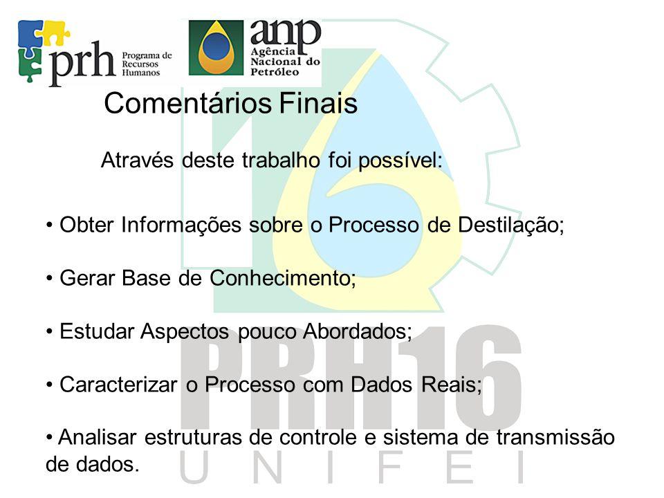 Comentários Finais • Obter Informações sobre o Processo de Destilação; • Gerar Base de Conhecimento; • Estudar Aspectos pouco Abordados; • Caracteriza