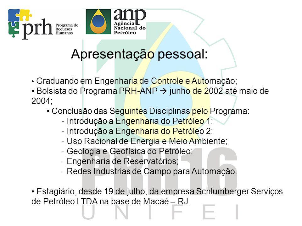 Apresentação pessoal: • Graduando em Engenharia de Controle e Automação; • Bolsista do Programa PRH-ANP  junho de 2002 até maio de 2004; • Conclusão