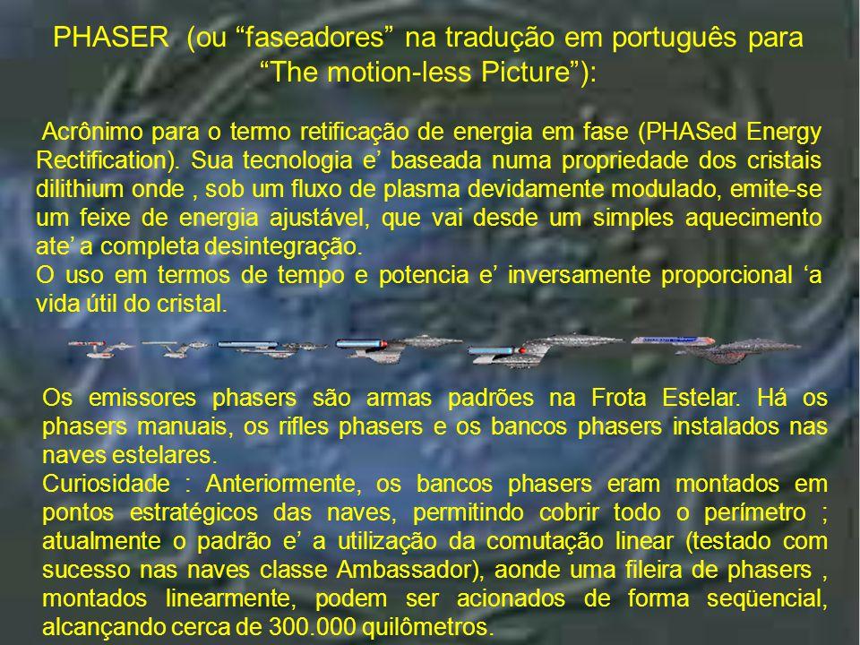 Introduç ão Os emissores phasers são armas padrões na Frota Estelar.