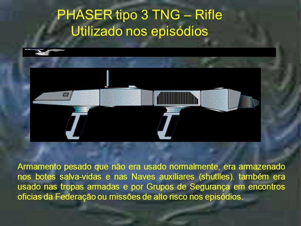 """Phaser tipo 3 TOS – Rifle PHASER tipo 3 TOS – Rifle Utilizado em """"Where no man has gone before"""" e """"Ultimate Confrontation"""""""