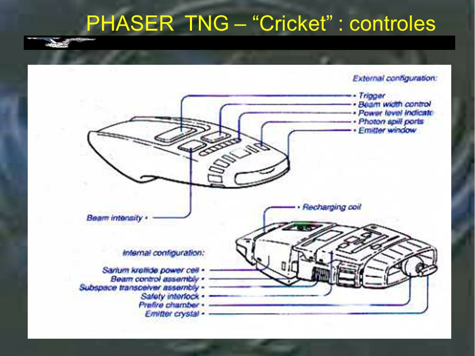 Phaser tipo 2 : TNG Cobra head PHASER tipo 2 : TNG cobra head Utilizado do segundo ano em diante Uma característica interessante neste modelo e' que ele, e suas atualizações podem ser ativados e desativados por um computador remoto.