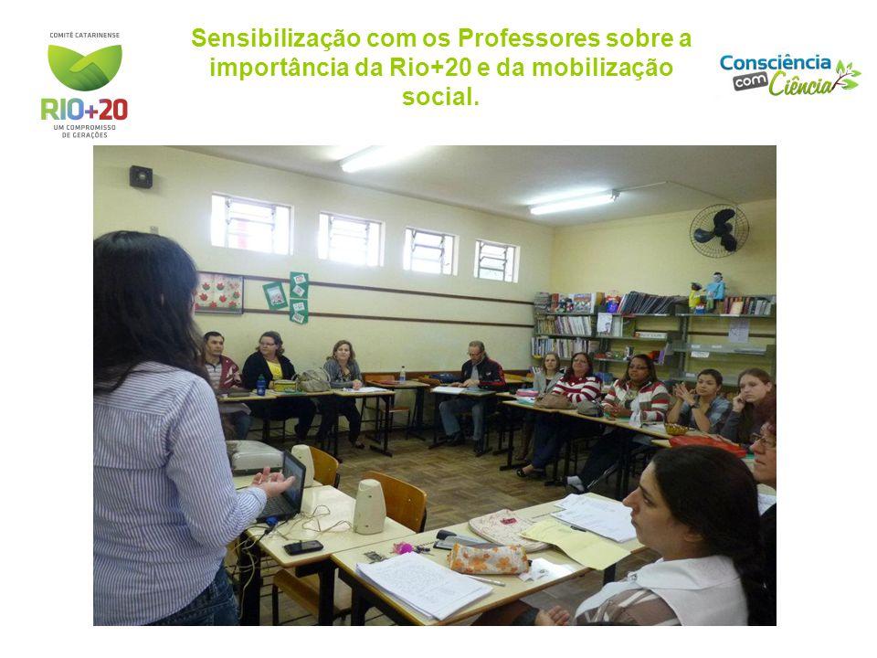 Sensibilização com os Professores sobre a importância da Rio+20 e da mobilização social.