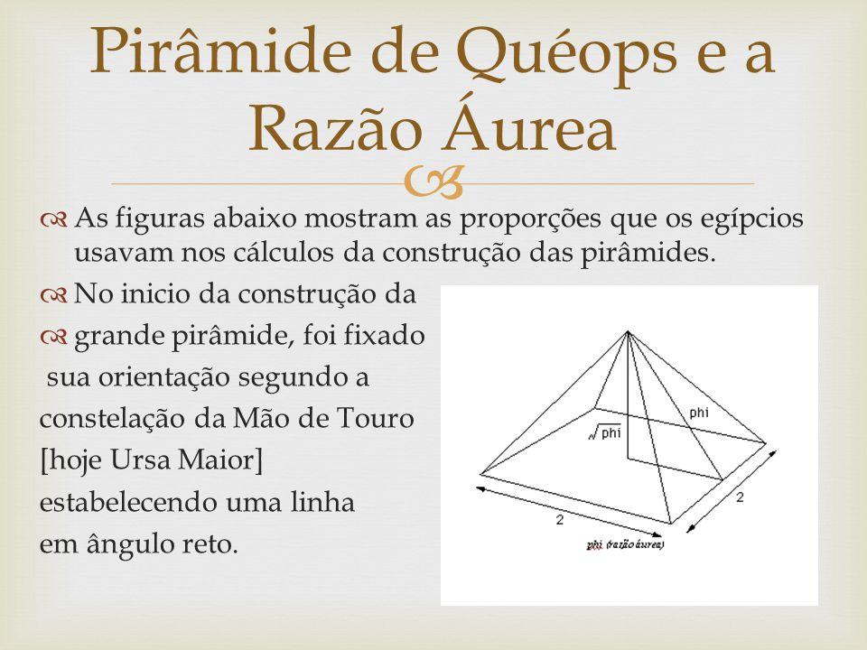   As figuras abaixo mostram as proporções que os egípcios usavam nos cálculos da construção das pirâmides.  No inicio da construção da  grande pir