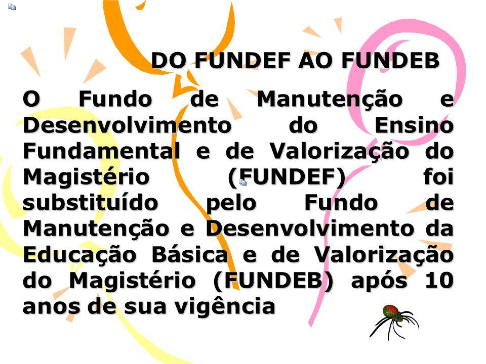 DO FUNDEF AO FUNDEB O Fundo de Manutenção e Desenvolvimento do Ensino Fundamental e de Valorização do Magistério (FUNDEF) foi substituído pelo Fundo d
