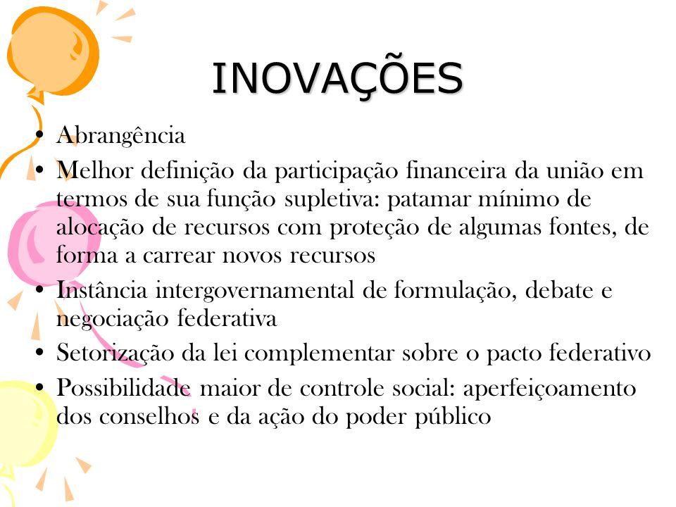 INOVAÇÕES •Abrangência •Melhor definição da participação financeira da união em termos de sua função supletiva: patamar mínimo de alocação de recursos