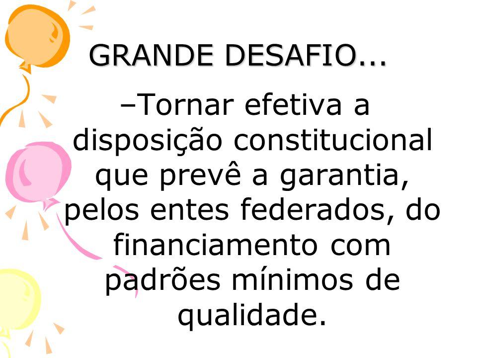 GRANDE DESAFIO... –Tornar efetiva a disposição constitucional que prevê a garantia, pelos entes federados, do financiamento com padrões mínimos de qua