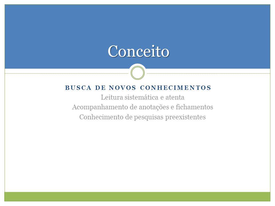 BUSCA DE NOVOS CONHECIMENTOS Leitura sistemática e atenta Acompanhamento de anotações e fichamentos Conhecimento de pesquisas preexistentes Conceito