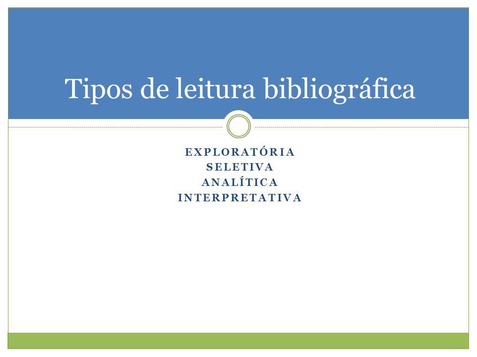 EXPLORATÓRIA SELETIVA ANALÍTICA INTERPRETATIVA Tipos de leitura bibliográfica