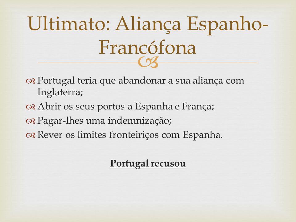   Portugal teria que abandonar a sua aliança com Inglaterra;  Abrir os seus portos a Espanha e França;  Pagar-lhes uma indemnização;  Rever os li