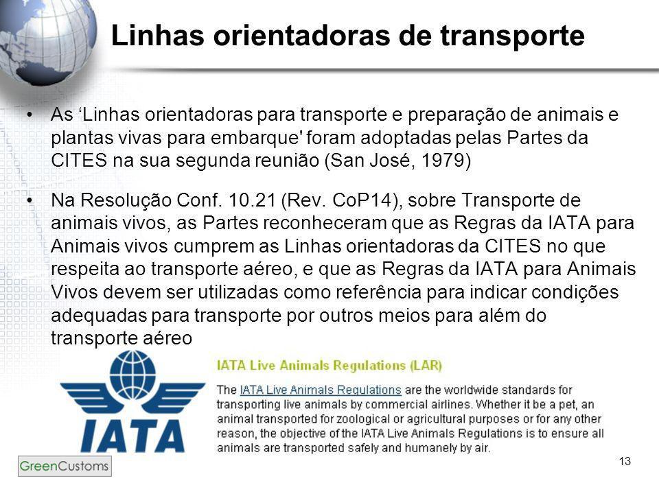 13 Linhas orientadoras de transporte •As 'Linhas orientadoras para transporte e preparação de animais e plantas vivas para embarque' foram adoptadas p