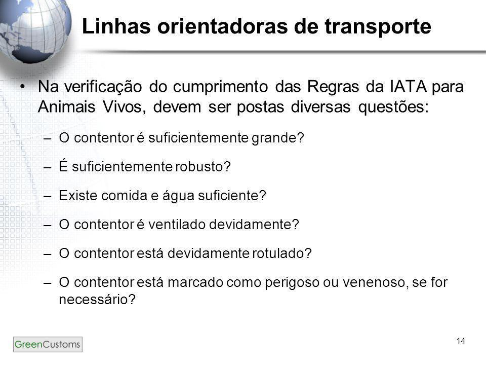 14 Linhas orientadoras de transporte •Na verificação do cumprimento das Regras da IATA para Animais Vivos, devem ser postas diversas questões: –O cont