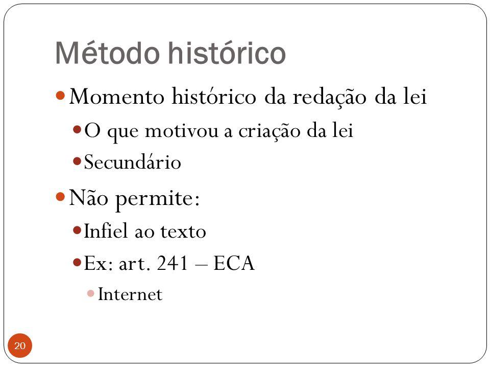 Método histórico 20  Momento histórico da redação da lei  O que motivou a criação da lei  Secundário  Não permite:  Infiel ao texto  Ex: art. 24