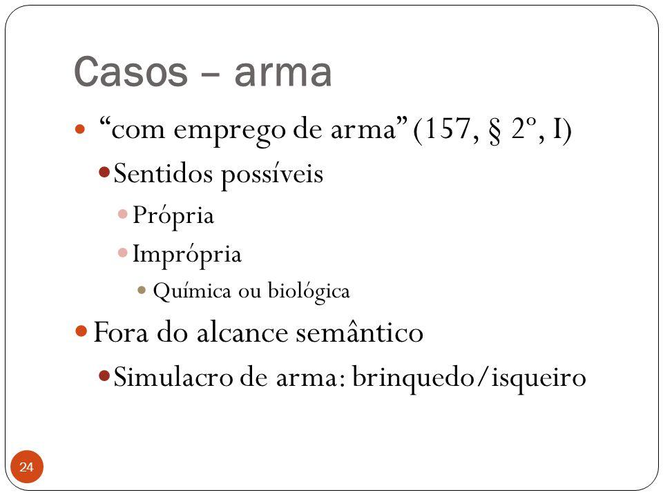 """Casos – arma 24  """"com emprego de arma"""" (157, § 2º, I)  Sentidos possíveis  Própria  Imprópria  Química ou biológica  Fora do alcance semântico """