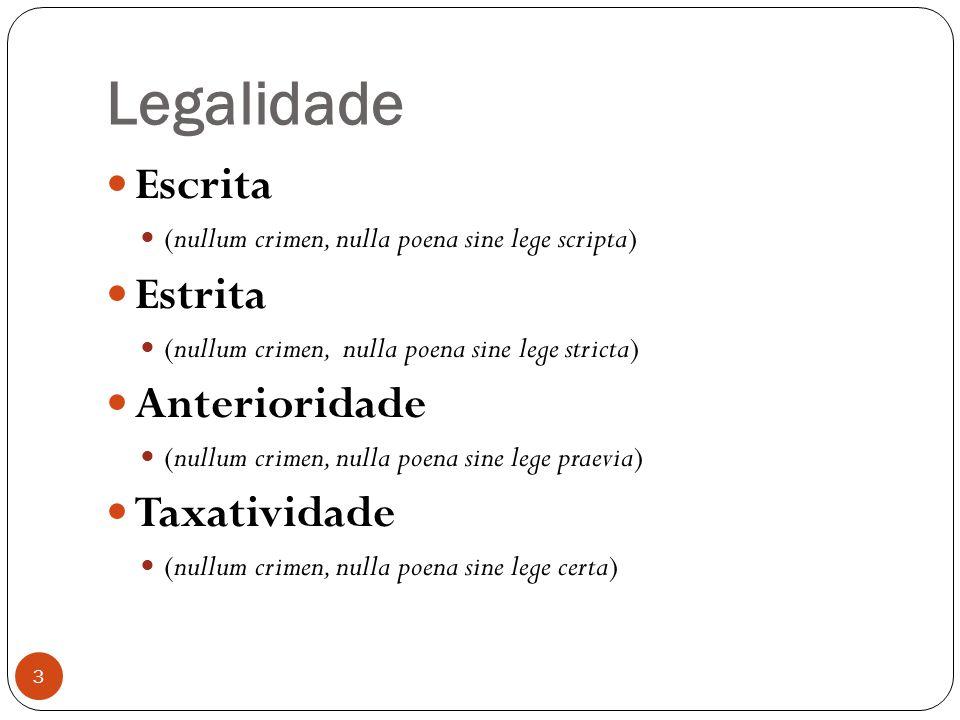 Legalidade 3  Escrita  (nullum crimen, nulla poena sine lege scripta)  Estrita  (nullum crimen, nulla poena sine lege stricta)  Anterioridade  (