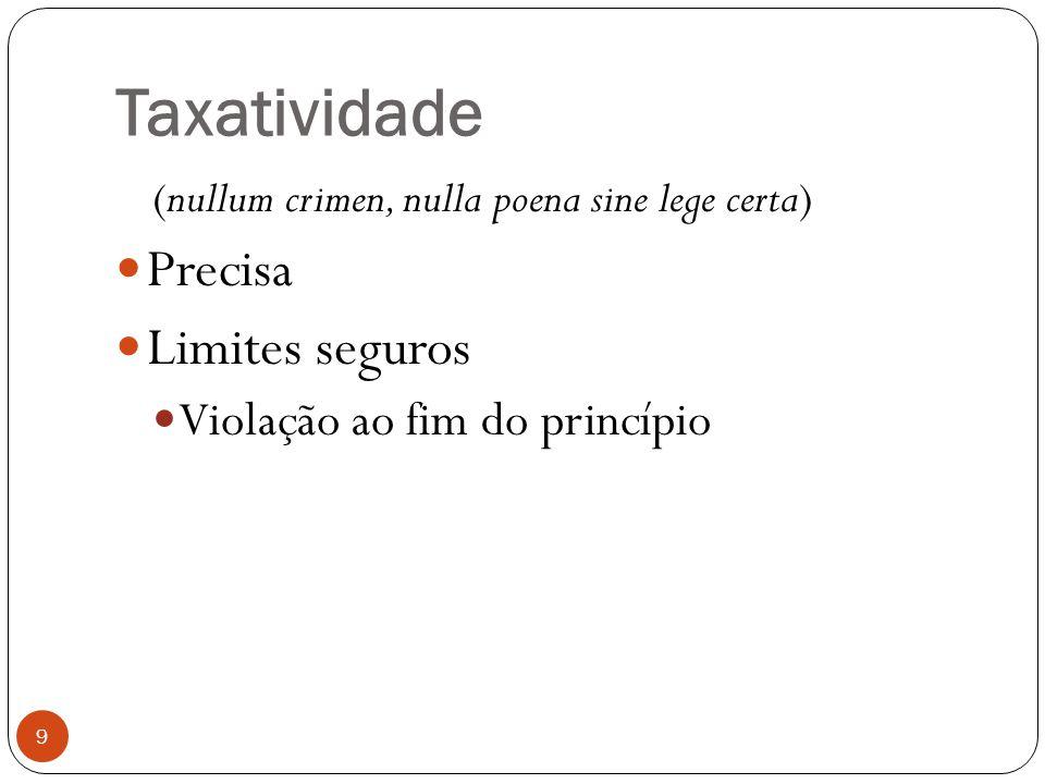 Taxatividade 9 (nullum crimen, nulla poena sine lege certa)  Precisa  Limites seguros  Violação ao fim do princípio
