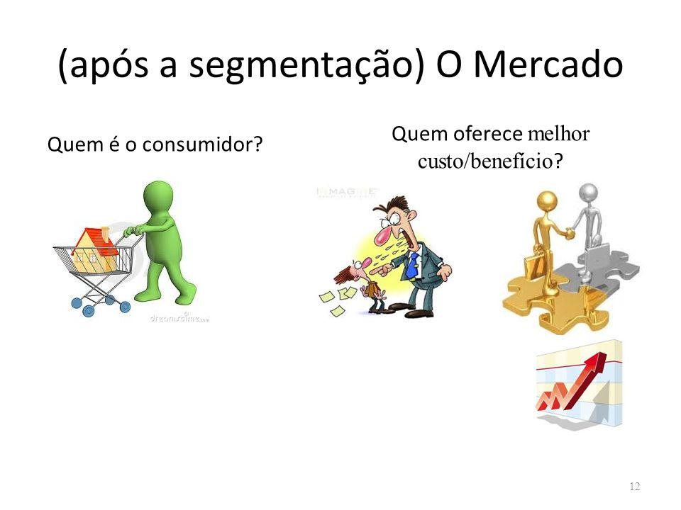 (após a segmentação) O Mercado 12 Quem é o consumidor? Quem oferece melhor custo/benefício ?