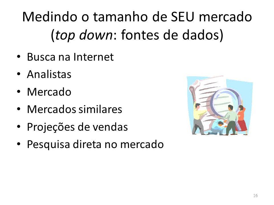Medindo o tamanho de SEU mercado (top down: fontes de dados) • Busca na Internet • Analistas • Mercado • Mercados similares • Projeções de vendas • Pesquisa direta no mercado 16