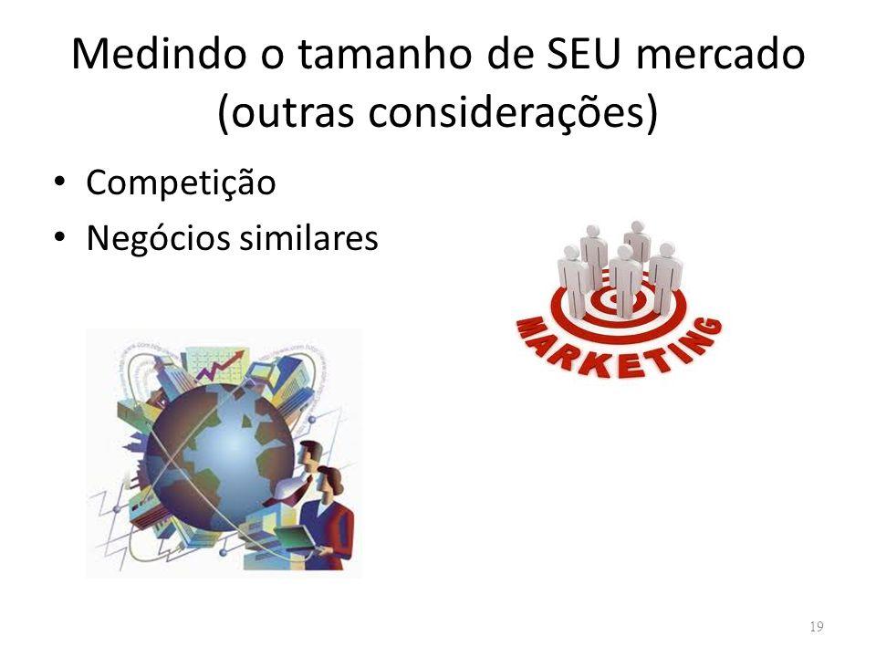 Medindo o tamanho de SEU mercado (outras considerações) • Competição • Negócios similares 19