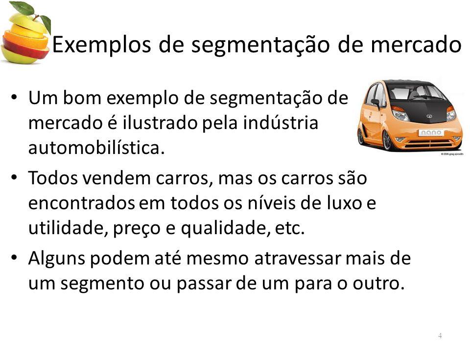 • Um bom exemplo de segmentação de mercado é ilustrado pela indústria automobilística.