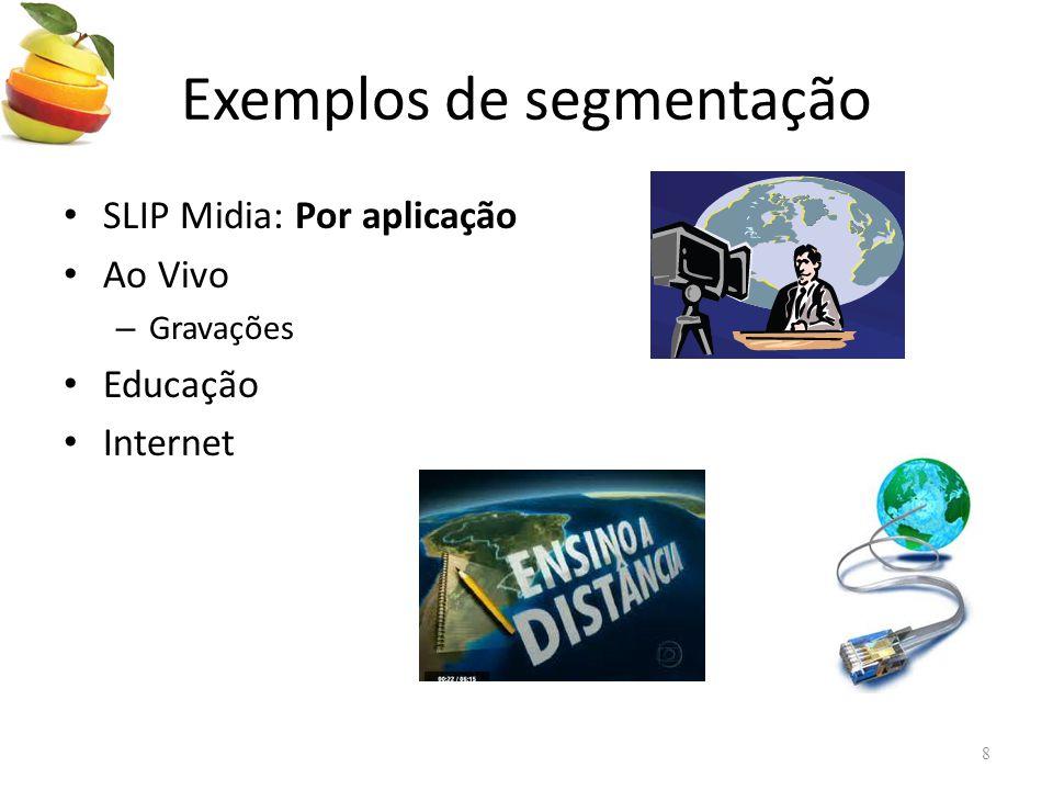 Exemplos de segmentação • SLIP Midia: Por aplicação • Ao Vivo – Gravações • Educação • Internet 8