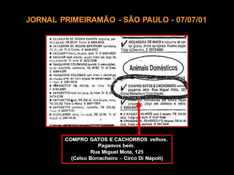 JORNAL PRIMEIRAMÃO - SÃO PAULO - 07/07/01 COMPRO GATOS E CACHORROS velhos.