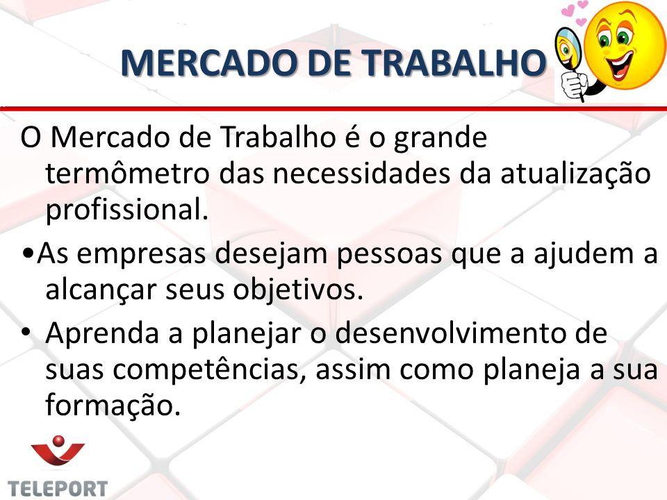 MERCADO DE TRABALHO O Mercado de Trabalho é o grande termômetro das necessidades da atualização profissional. •As empresas desejam pessoas que a ajude
