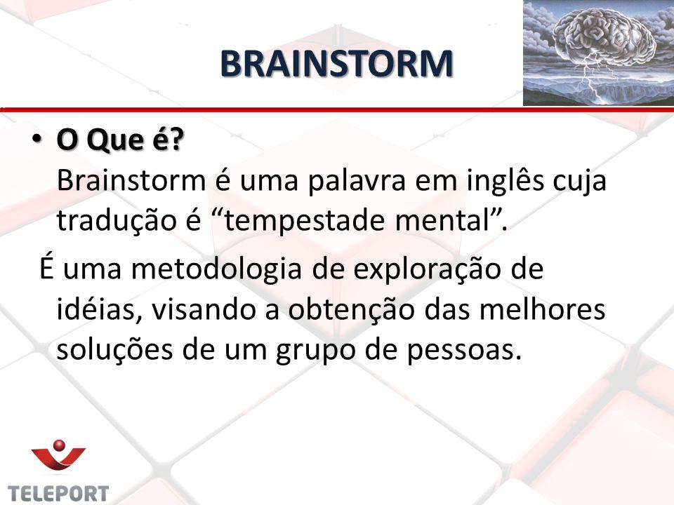 """BRAINSTORM • O Que é? • O Que é? Brainstorm é uma palavra em inglês cuja tradução é """"tempestade mental"""". É uma metodologia de exploração de idéias, vi"""