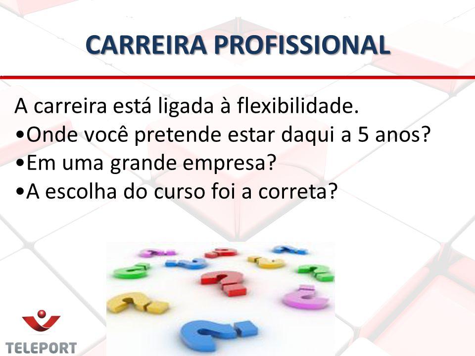 CARREIRA PROFISSIONAL A carreira está ligada à flexibilidade. •Onde você pretende estar daqui a 5 anos? •Em uma grande empresa? •A escolha do curso fo