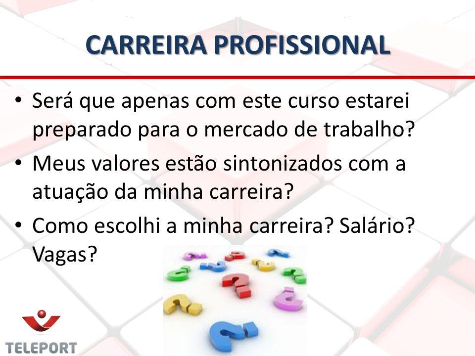 CARREIRA PROFISSIONAL • • Será que apenas com este curso estarei preparado para o mercado de trabalho? • • Meus valores estão sintonizados com a atuaç