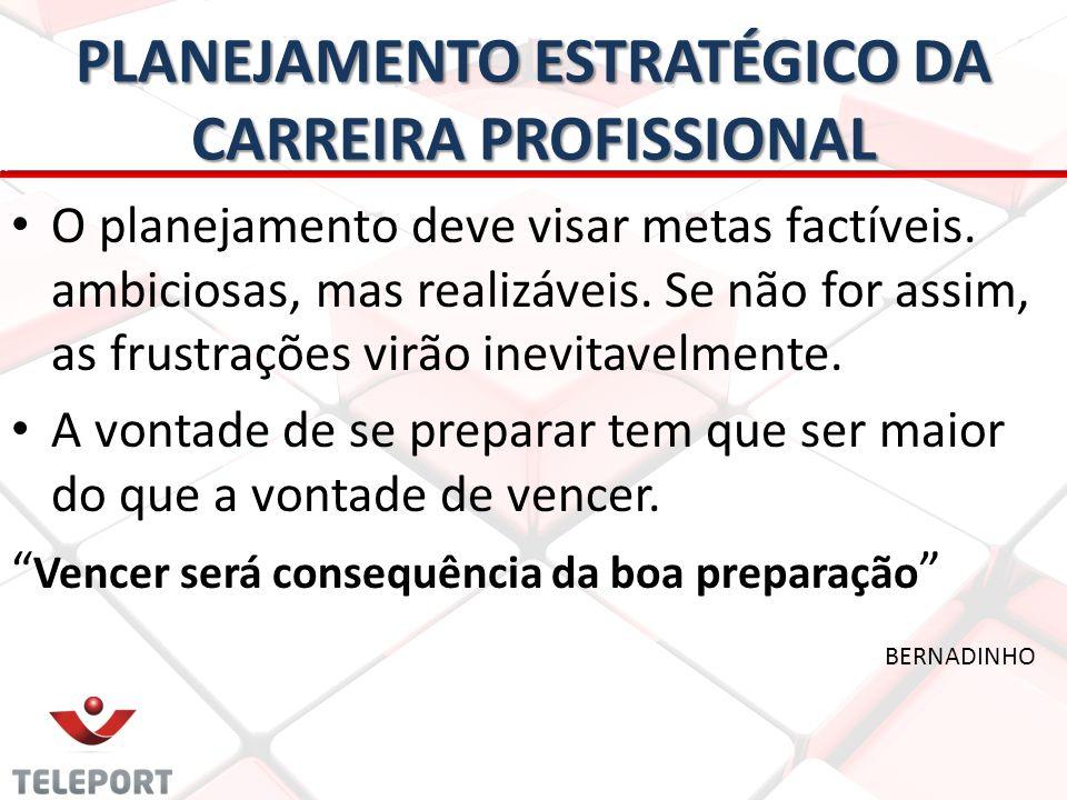 PLANEJAMENTO ESTRATÉGICO DA CARREIRA PROFISSIONAL • • O planejamento deve visar metas factíveis. ambiciosas, mas realizáveis. Se não for assim, as fru