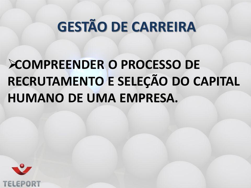   COMPREENDER O PROCESSO DE RECRUTAMENTO E SELEÇÃO DO CAPITAL HUMANO DE UMA EMPRESA. GESTÃO DE CARREIRA