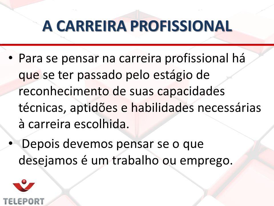 A CARREIRA PROFISSIONAL • • Para se pensar na carreira profissional há que se ter passado pelo estágio de reconhecimento de suas capacidades técnicas,