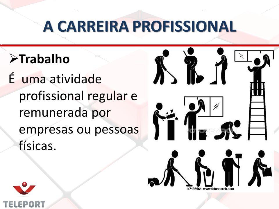 A CARREIRA PROFISSIONAL   Trabalho É uma atividade profissional regular e remunerada por empresas ou pessoas físicas.