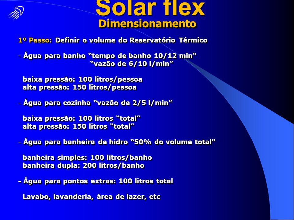 """1º Passo: Definir o volume do Reservatório Térmico - Água para banho """"tempo de banho 10/12 min"""" """"vazão de 6/10 l/min"""" baixa pressão: 100 litros/pessoa"""