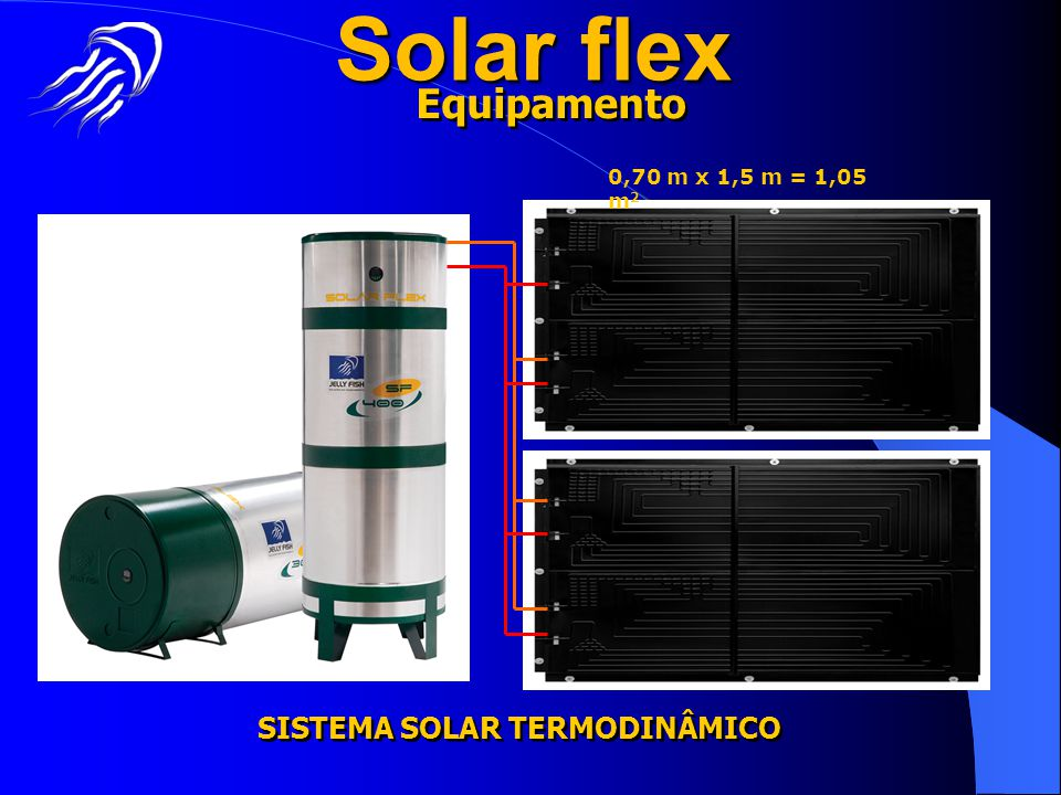 Solar flex SISTEMA SOLAR TERMODINÂMICO Equipamento 0,70 m x 1,5 m = 1,05 m 2