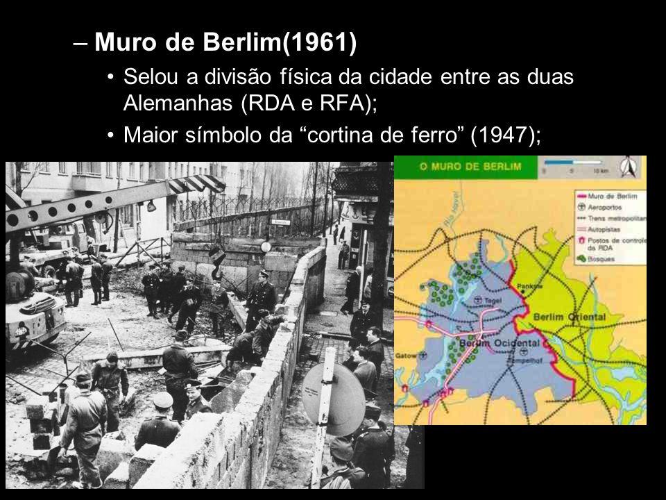 """–Muro de Berlim(1961) •Selou a divisão física da cidade entre as duas Alemanhas (RDA e RFA); •Maior símbolo da """"cortina de ferro"""" (1947);"""
