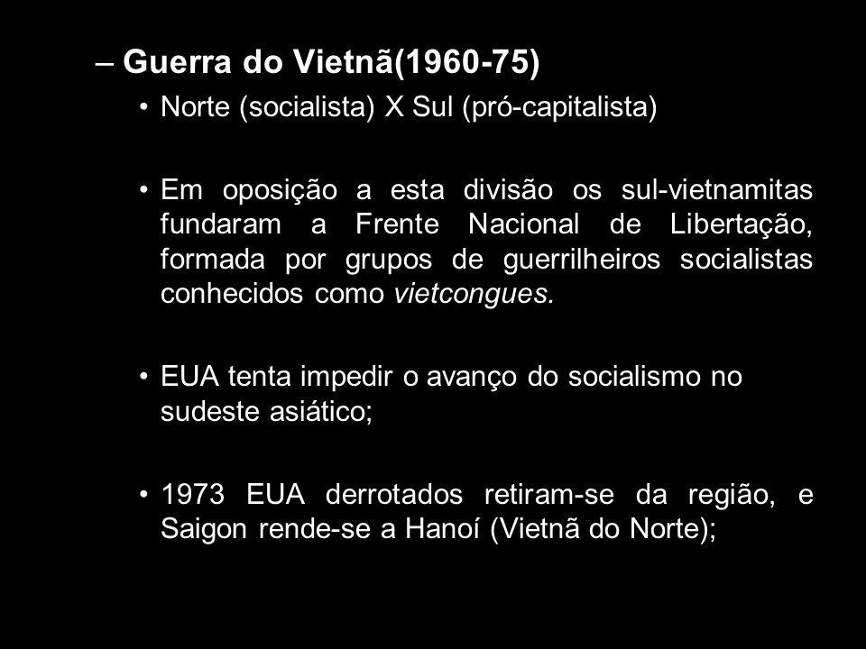 –Guerra do Vietnã(1960-75) •Norte (socialista) X Sul (pró-capitalista) •Em oposição a esta divisão os sul-vietnamitas fundaram a Frente Nacional de Li