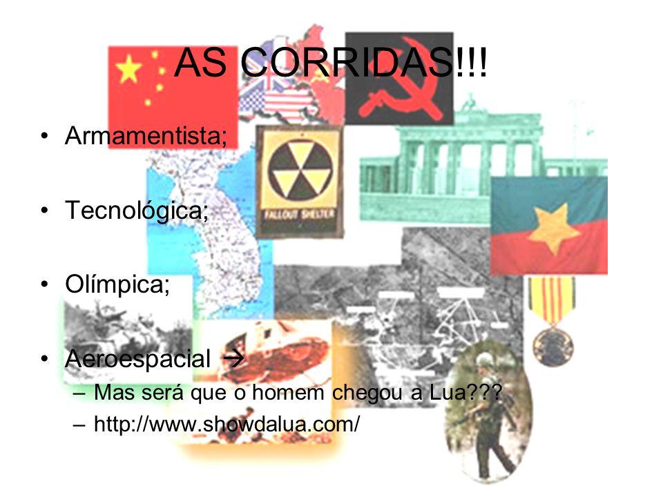 AS CORRIDAS!!! •Armamentista; •Tecnológica; •Olímpica; •Aeroespacial  –Mas será que o homem chegou a Lua??? –http://www.showdalua.com/