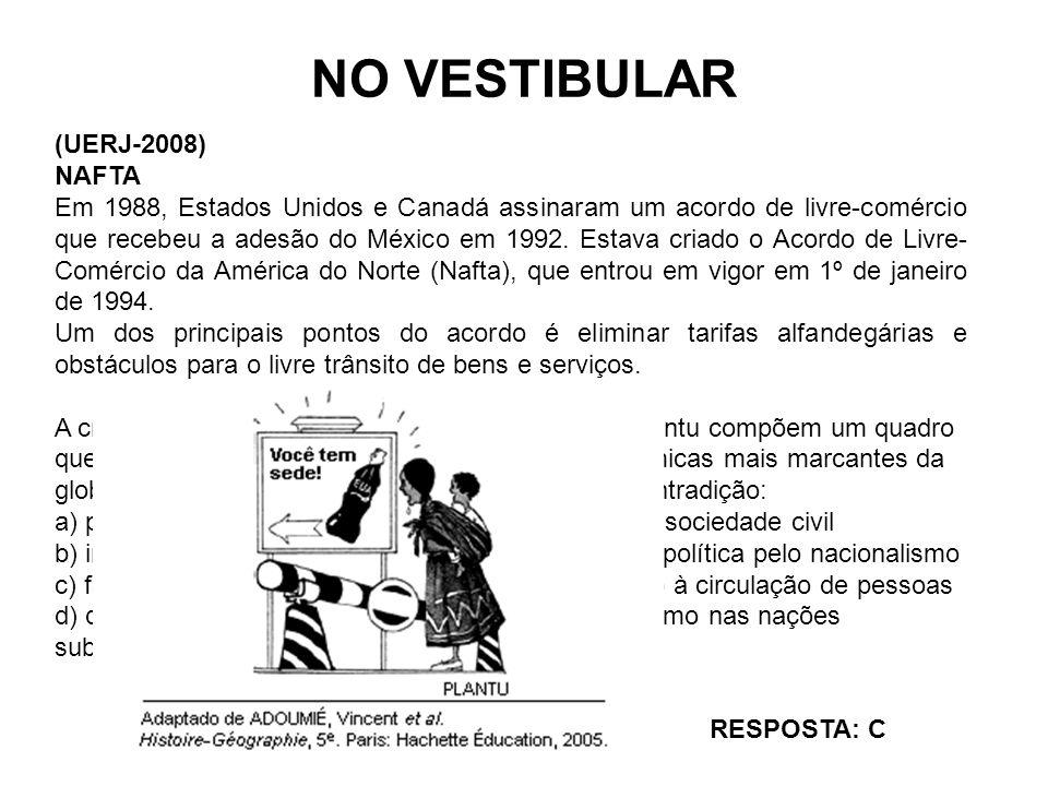 NO VESTIBULAR (UERJ-2008) NAFTA Em 1988, Estados Unidos e Canadá assinaram um acordo de livre-comércio que recebeu a adesão do México em 1992. Estava