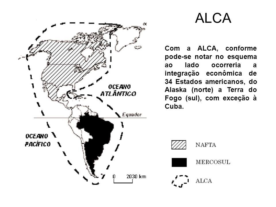 ALCA Com a ALCA, conforme pode-se notar no esquema ao lado ocorreria a integração econômica de 34 Estados americanos, do Alaska (norte) a Terra do Fog
