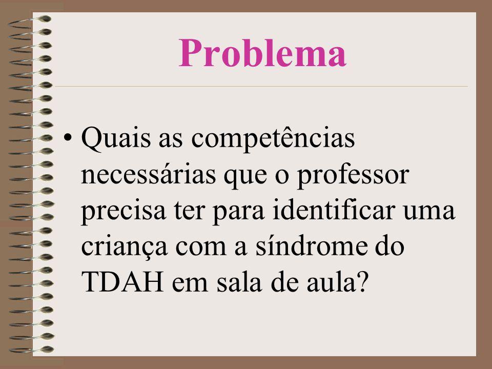 Problema •Quais as competências necessárias que o professor precisa ter para identificar uma criança com a síndrome do TDAH em sala de aula?