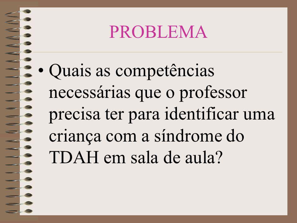 OBJETIVOS: Geral: Levantar quais as competências necessárias que o professor precisa ter para identificar uma criança com a síndrome do TDAH.