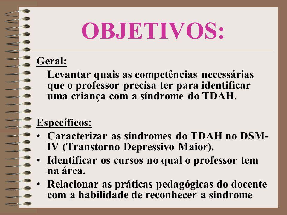 OBJETIVOS: Geral: Levantar quais as competências necessárias que o professor precisa ter para identificar uma criança com a síndrome do TDAH. Específi