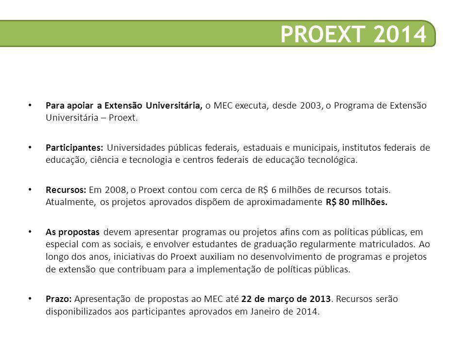 • Para apoiar a Extensão Universitária, o MEC executa, desde 2003, o Programa de Extensão Universitária – Proext.