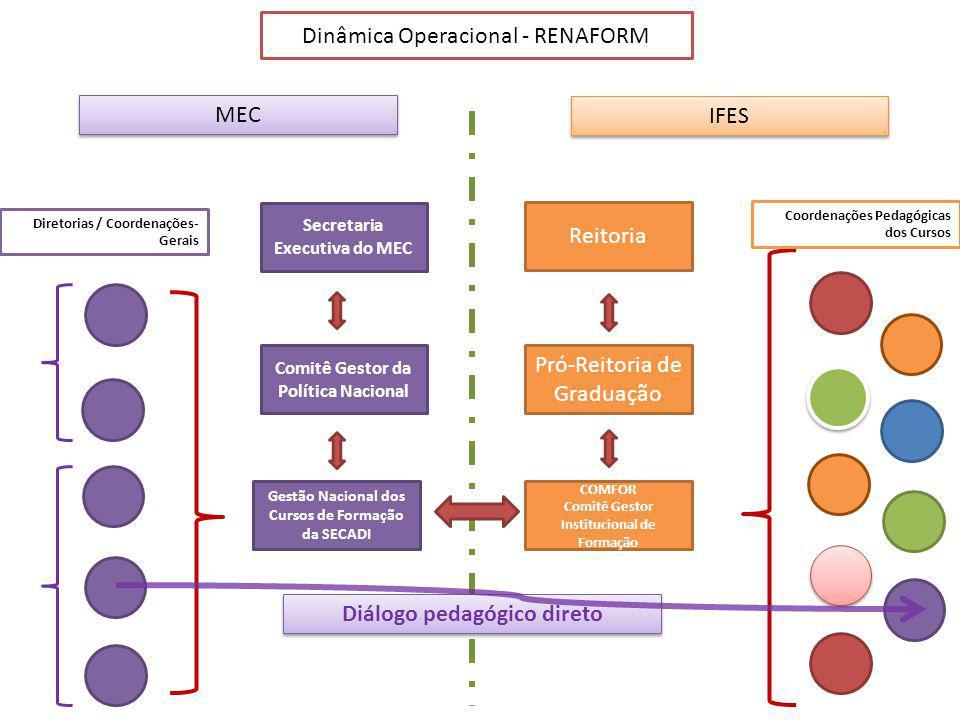 MEC IFES Gestão Nacional dos Cursos de Formação da SECADI Reitoria Pró-Reitoria de Graduação Comitê Gestor da Política Nacional COMFOR Comitê Gestor Institucional de Formação Diretorias / Coordenações- Gerais Secretaria Executiva do MEC Dinâmica Operacional - RENAFORM Coordenações Pedagógicas dos Cursos Diálogo pedagógico direto