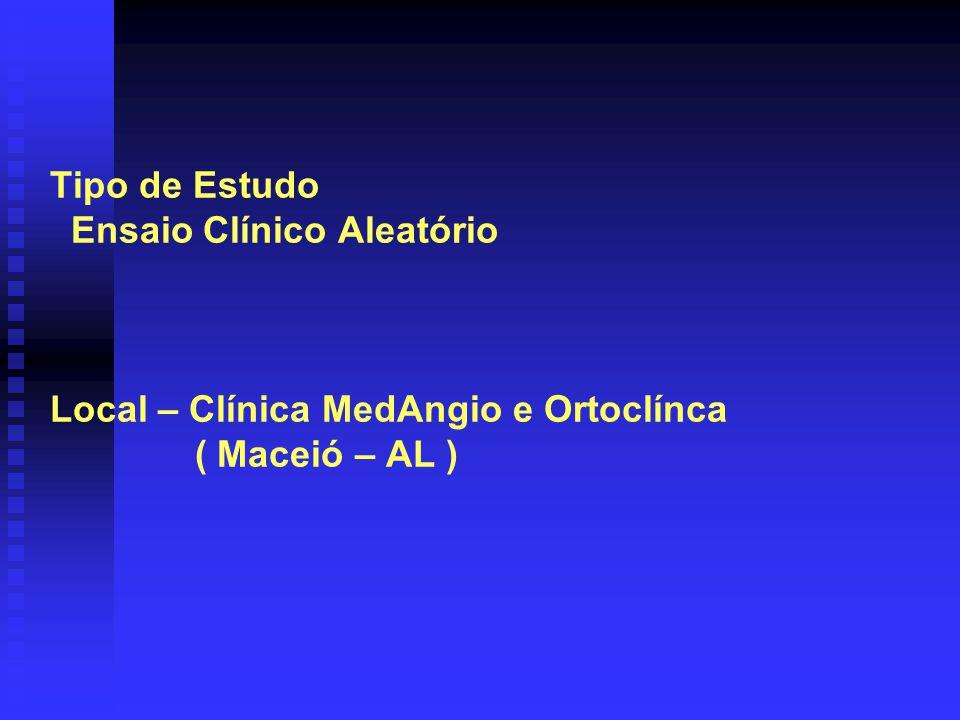 Amostra: -Critérios de inclusão : pacientes com indicação cirúrgica para correção de lesão de ligamento cruzado anterior, idade menor que 35 anos e sem fatores de risco tromboembóli- cos.
