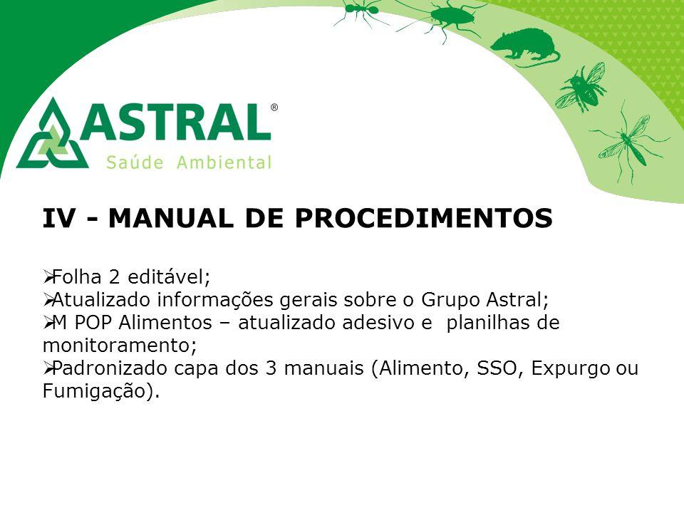 IV - MANUAL DE PROCEDIMENTOS  Folha 2 editável;  Atualizado informações gerais sobre o Grupo Astral;  M POP Alimentos – atualizado adesivo e planil