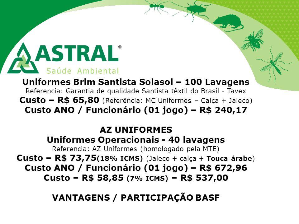 Uniformes Brim Santista Solasol – 100 Lavagens Referencia: Garantia de qualidade Santista têxtil do Brasil - Tavex Custo – R$ 65,80 (Referência: MC Un