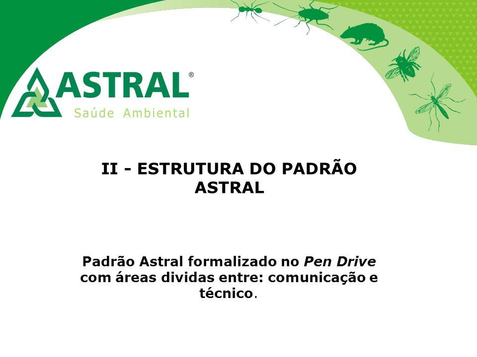 II - ESTRUTURA DO PADRÃO ASTRAL Padrão Astral formalizado no Pen Drive com áreas dividas entre: comunicação e técnico.